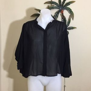 The Way sheer bubble dramatic sleeves top NWT